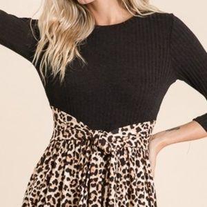 Reborn J Dresses - Cheetah /Animal Print Contrast Midi Dress